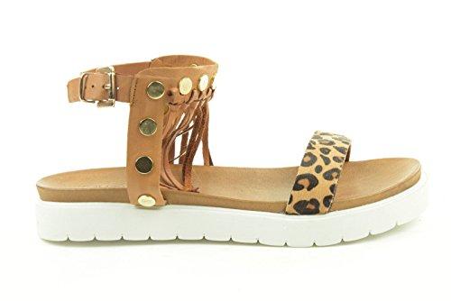5010 Leop Marrone Lychee INUOVO sandales femme Fwx4qnWEB