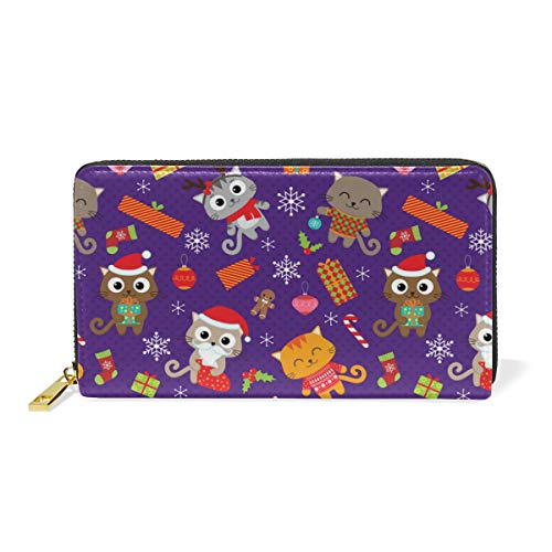 8' Leather Bi Fold Wallet - Cat Christmas Tree TopperWomen Large Capacity Genuine Leather Bifold Multi Card Organizer travel Wallet with Zipper Pocket, Stylish And Portable Purse.