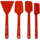 Silicone 4 Piece Utensils Set, Includes; Spoon Spatula, Scraper, Spatula, and Small Spatula. Red