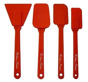 Charmant Amazon.com: Silicone 4 Piece Utensils Set, Includes; Spoon Spatula,  Scraper, Spatula, And Small Spatula. Red: Kitchen U0026 Dining