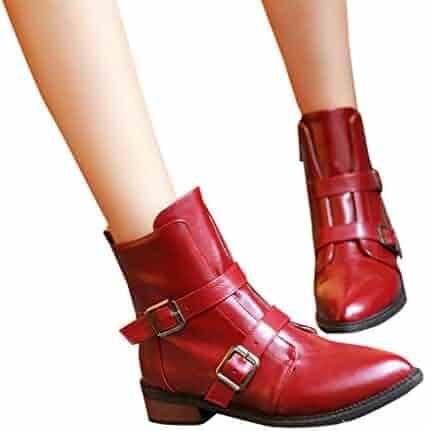 2ebb18087cb Memela Women s Winter Snow Boots Zipper Buckles Strap Warm Ankle Mid Flat  Boot Pointed-Toe