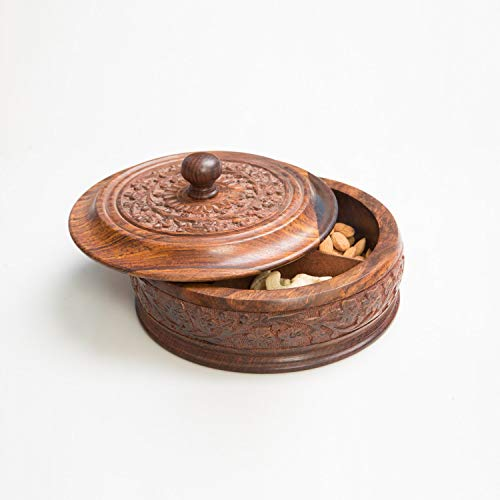- Rusticity Wooden Snacks Box/Spice Box (with Removable partitions) |Sheesham | Handmade | (7.8x7.8in)