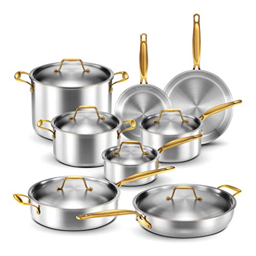 Legend Stainless Steel 5-Ply Copper Core | 14-Piece Cookware Set | Professional Home Chef Grade Clad Pots and Pans Sets…