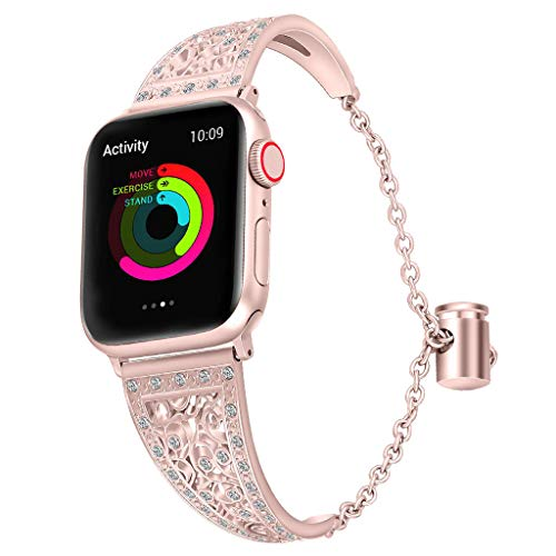 (for Apple Watch 38/40mm, Hollowed-Out Rhinestone Stainless Steel Watch Band with Metal Push-Button Drawstring Style Lock)