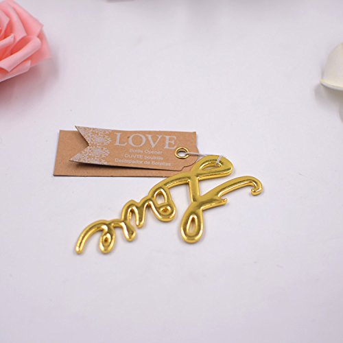 50 pcs Gold Bottle Openers Wedding Favors Decorations, Kraft Paper Label Card Tag, Love Shaped, Party Supplies by IBWell (Image #2)