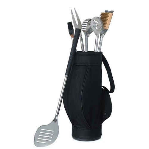 Novelty 5 Piece BBQ Tools in Black Golf Bag and Golf (Golf Gift Bag)