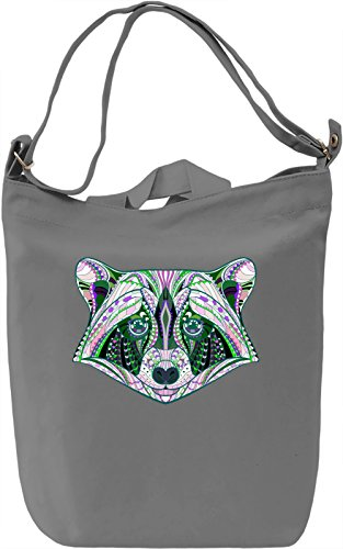 Green Raccoon Borsa Giornaliera Canvas Canvas Day Bag| 100% Premium Cotton Canvas| DTG Printing|