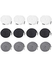 12PCS 5.1inch Drawstring Cords Replacement Clothing Drawstrings Drawcords with Metal Head for Sweatpants Shorts Pants Jackets Coats(Black+White+Grey)