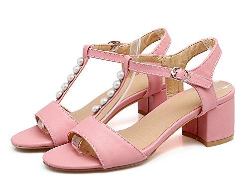 Aisun Women's Comfy Ankle Strap Beads Sandals Shoes Pink R1XS6eJ1W