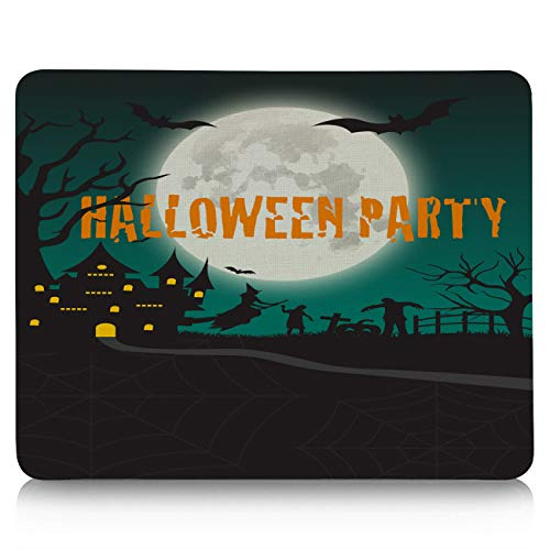 Gaming Mouse Pad, Happy Halloween Party Moon Castle Non-Slip Rubber Base Mousepad Rectangle Mouse Mat for Laptop, Computers, Office & -