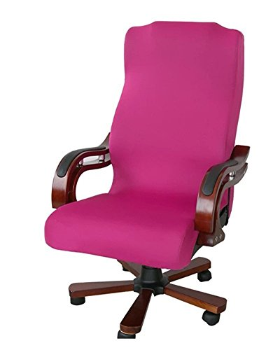 Deisy Dee Slipcovers Cloth Universal Computer Office Rotating Stretch Polyester Desk Chair Cover C064 (rose pink) (Cover Rolling Chair)