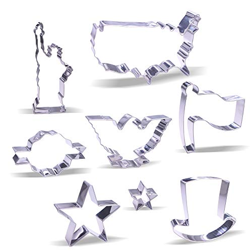 4th of July Cookie Cutter Set - 8 Piece - Stainless Steel