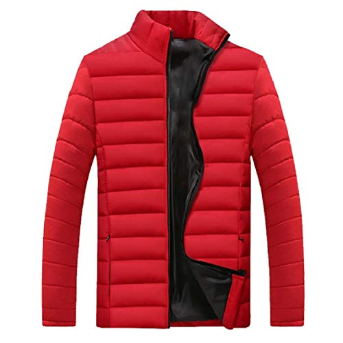 Energy Mens Thicken Plus Size Stand Collar Cotton Solid Puffer Jacket Red