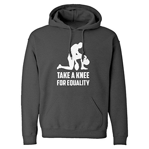Hoodie Players Take The Knee for Equality Medium Charcoal Grey Hooded Sweatshirt - Tipped Jersey Sport Shirt