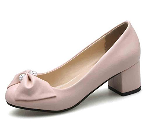 Easemax Womens Sweet Bows Rhinestones Round Toe Low Top Mid Block Heel Pumps Shoes Pink UCoUYC9T9