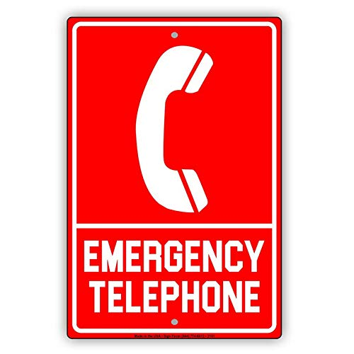 Eeypy Emergency Telephone with Graphic Safety Alert Warning Notice Aluminum Metal Tin 12x16 Sign Plate from Eeypy
