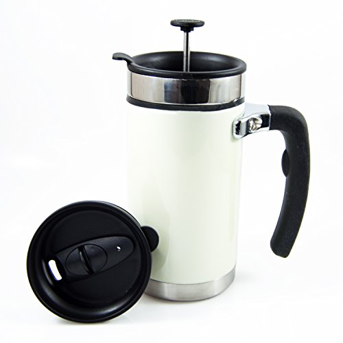 Desk Press Coffee Travelling Mug - French Press with Brü-Stop Technology - 2 Spill Proof Lids - 20oz - Pearl