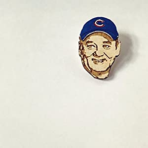 Bill Murray Chicago Cubs Fan Lapel Pin, World Series Commemorative Wood Hat Pin, Hand-Painted Wooden Cubs Brooch