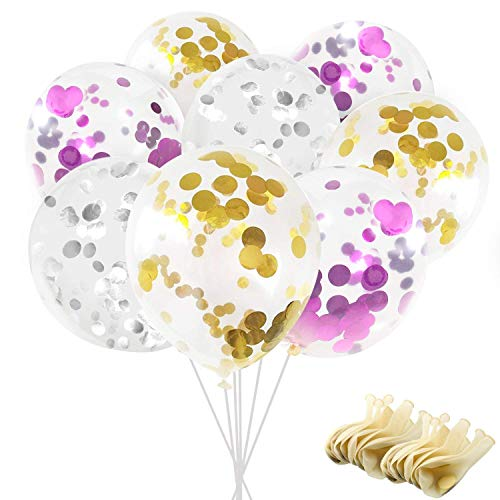 Confetti Balloons, Ohuhu 12' Party Balloons W/Golden Silver Purple Paper Confetti Dots for Birthday Party, Wedding, Proposal, Baby Shower, Party Decorative (60 pcs)