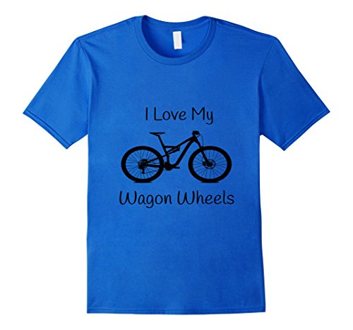 Mens Mountain Bike T-Shirt Wagon Wheels 29er XL Royal Blue