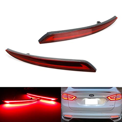 iJDMTOY Dark Red Lens LED Bumper Reflector Lights For 13-up Ford Fusion, Function as Tail, Brake & Rear Fog Lamps ()