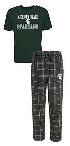Michigan State Spartans Lounge Pant - NCAA Michigan ST. Spartans Men's Shirt and Pajama Pants Flannel PJ Sleep Set 2XL 44-46