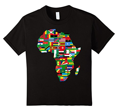 Kids Africa T-Shirt Proud African Country Flags Continent Love 6 Black