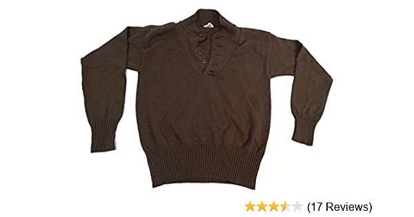 6407d6e6c9 Amazon.com  US Army Military 5 Button Sweater Geniune Issue 100% Knitted  Wool Brown  Clothing