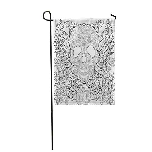 Tarolo Decoration Flag Zentangle Skull Pumpkin Rose Sunflower for Halloween Freehand Sketch Adult Coloring Page Autumn Doodle Ornamental Thick Fabric Double Sided Home Garden Flag 12