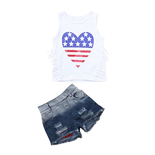 2PCS Set of Summer Clothes Baby Girls Clothing Set 4th of July Star Stripe Tops Vest+Denim Shorts Outfits