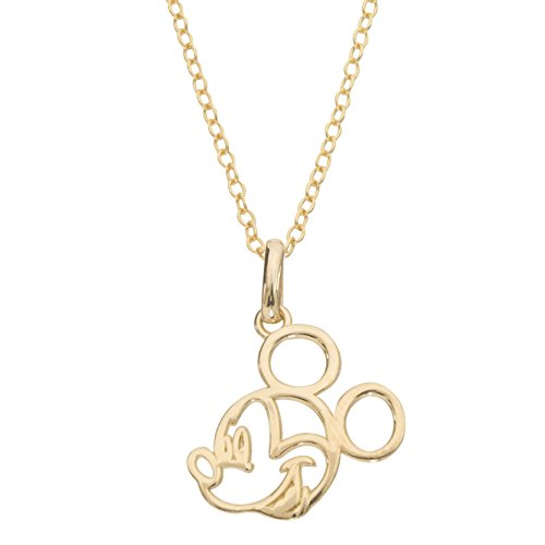 Disney Mickey Mouse 14k Yellow Gold Cutout Silhouette Pendant Necklace, 18