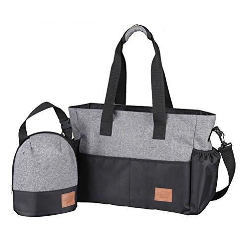 Aosbos 2-teiliges Babytasche Set Wickeltasche Große Kapazität Pflegetasche Kinderwagen Organizer