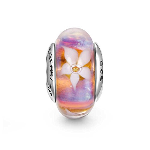 SOUFEEL Equinox Flower Murano Glass Bead 925 Sterling Silver Charm Fit European Bracelets and Necklaces
