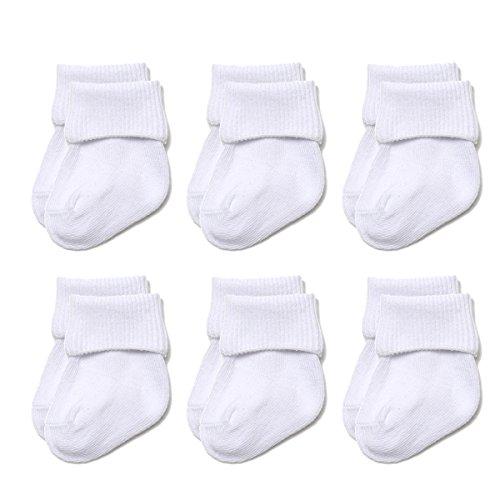 Epeius Unisex-Baby Newborn Seamless Turn Cuff Socks White Cotton Rich Booties 6 Pair Pack,0-3 Months