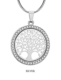 Tree of Life Chain Necklace Pendant Silver Rhinestone for Women by Thalie