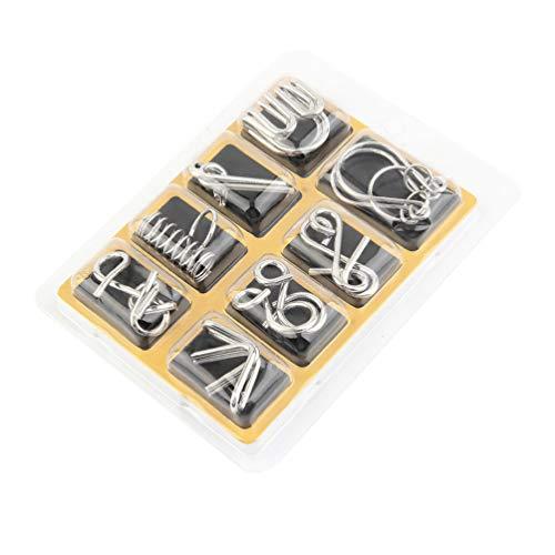 [해외]재미 있는 8 피스 세트 클래식 Iq メタルパズルブレ?ンティ?ザ?ディスエンタングルメントワイヤパズルゲ?ム 장난감 어린이용 키즈-실버 / Funny 8-PieceSet Classic Iq Metal Puzzle Brain Teaser Disentangle Wire Puzzle Game Toy Kids Kids - Sil...