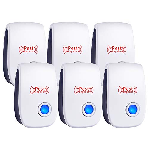 Ultrasonic Pest Repeller, Set of 6-Packs,New Pest Control Electronic Plug in Repellent Indoor for Flea, Insects, Mosquitoes, Mice, Spiders, Ants, Rats, Roaches, Bugs, Humans & Pets Safe.