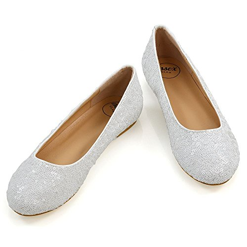 ESSEX GLAM Womens Ballet Flats Ladies Sequin Slip On Party Evening Pumps Shoes White FFtKYK