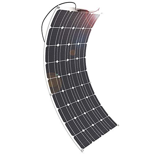 Solar Panel, GIARIDE 18V 12V 100W High-Efficiency Monocrystalline Cell with MC4 Connectors Flexible Bendable Off-Grid Solar Panel Charger for 12 Volt Battery, RV, Camping, Boat, Car, Motorhome (Best Solar Panel Kit For Motorhome)