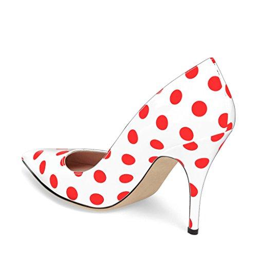 Ydn Vrouwen Chique Wees Teen Midden Hak Pompen Stippen Slip Op Stiletto Schoenen Voor Partij Wit-rood