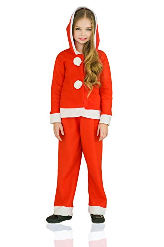 [Kids Girls Miss Santa Claus Christmas Winter Costume Snow Hooded Suit Dress Up (3-6 years, Red)] (Ice Themed Costume)