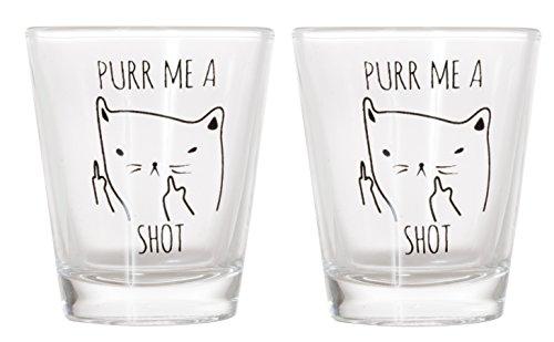 Purr Me a Shot - Funny Cat Gifts, Cat Shot Glass, Funny Middle Finger Cat Shotglass (2)]()