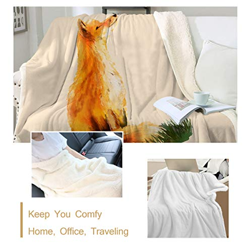 """Sleepwish Fox Throw Blanket Green Leaves Cartoon Animal Butterfly Decorative Sherpa Plush Fleece Throw Blanket for Couch, Sofa, Bed, Couch, Office Lap Throw(50""""x60"""")"""
