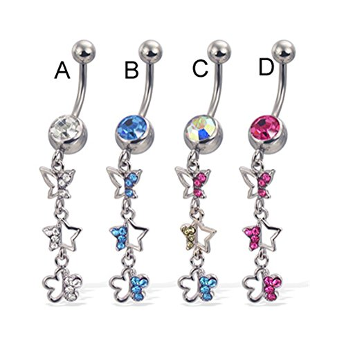 - MsPiercing Belly Button Ring With Dangling Jeweled Butterfly, Star, And Flower, Multicolor - C