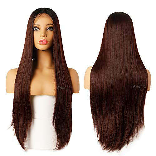 (Andria Hair Ombre Dark Auburn Lace Front Synthetic Wigs Long Straight Heat Resistant Hair Pre Plucked Wig with Baby Hair Bleached Knots for Women (26