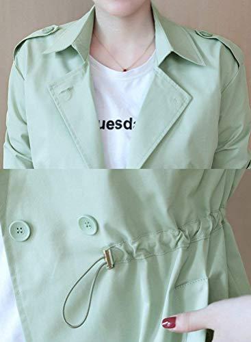 Casual breal Vert Manteaux Fashion avec Revers Longues Outerwear Automne Parka Femme Trench Fit Printemps Serrage Boutonnage Manches De Cordon Double Longues Slim Jacken a6rBqS86wW