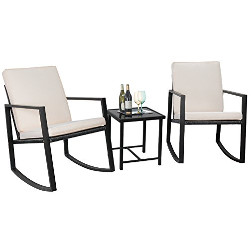 flamaker 3 pieces patio furniture set rocking wicker bistro sets modern outdoor furniture sets. Black Bedroom Furniture Sets. Home Design Ideas