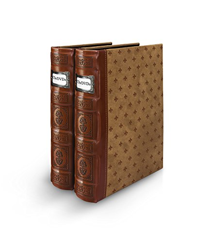 Bellagio-Italia Tuscany Cognac DVD Storage Binder Set - Stores Up to 96 DVDs, CDs, or Blu-Rays - Stores DVD Cover Art - Acid-Free Sheets