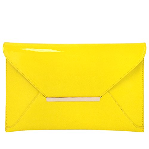 Faux Patent Leather Envelope Candy Clutch Bag, Yellow by JNB