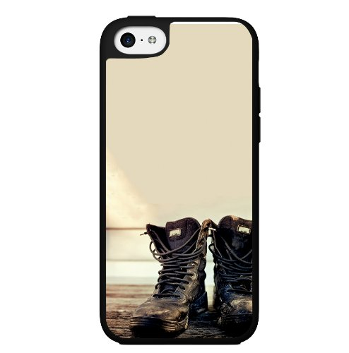 Black Combat Boots on Tan Background Hard Snap on Phone Case (iPhone 5c)